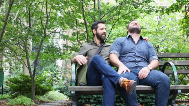 成熟した大人のゲイ男性ニューヨーク公園でリラックス - ゲイ点の映像素材/bロール