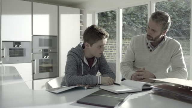 Mature adult male teaching teenage child in kitchen