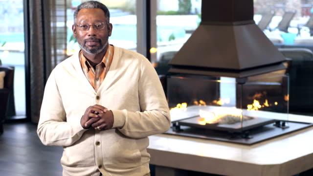 Mature African-American man in resort lounge