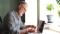 mature bearded man working from home with laptop. sitting at desk near window