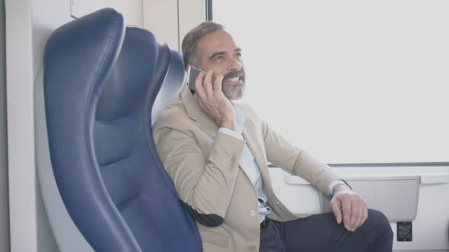 mature businessman in train - handsome people stock videos & royalty-free footage
