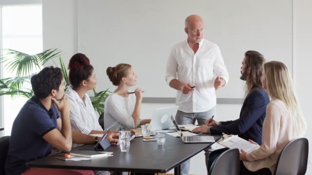 stockvideo's en b-roll-footage met volwassen zakenman planning met team in vergadering - europese cultuur