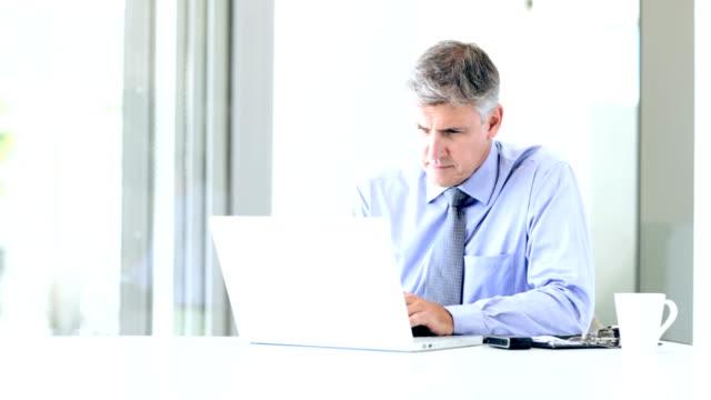 Mature businessman using laptop at work