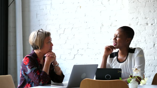 ms mature businesswoman listening during meeting with client in office - partnership stock videos & royalty-free footage