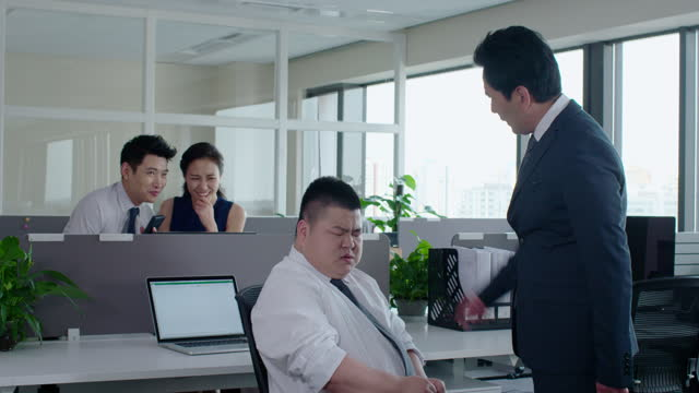 mature chinese businessman scolding employee,4k - office politics stock videos & royalty-free footage