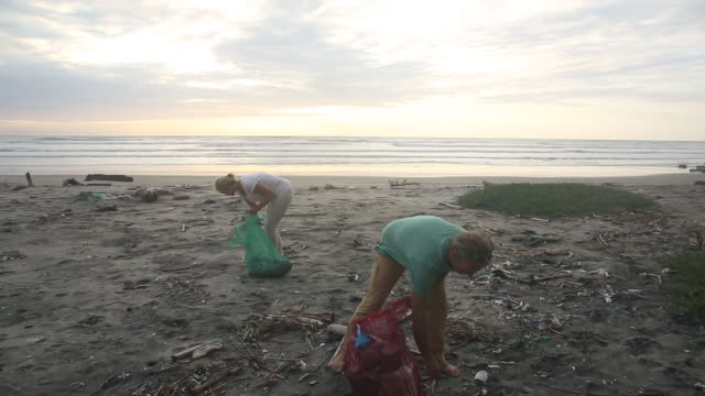 vidéos et rushes de mature couple collect garbage on expanse of beach, sunrise - nettoyer