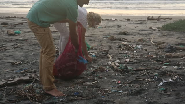 mature couple collect garbage on expanse of beach, sunrise - pulizia dell'ambiente video stock e b–roll