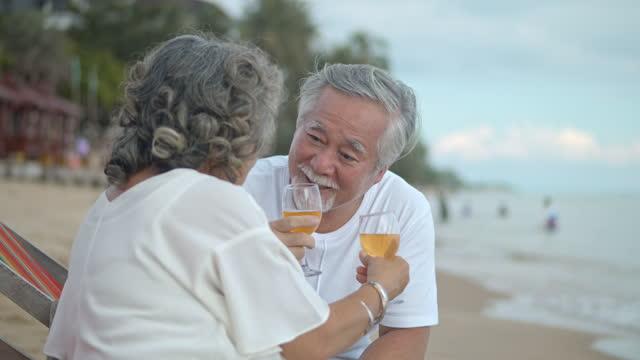 vídeos de stock e filmes b-roll de slo mo mature couple drinking wine at the beach - aniversário especial