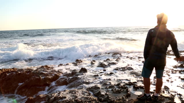 mature couple explore tidal rocks - tide pool stock videos & royalty-free footage