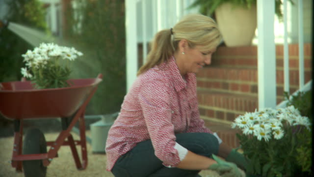 ms, tu, mature couple gardening in front of house, richmond, virginia, usa - mature couple stock videos & royalty-free footage