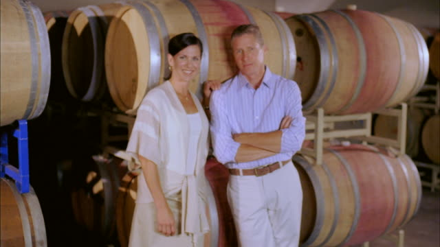 ms, mature couple in wine cellar, portrait, marlboro, new york state, usa - marlboro new york stock videos and b-roll footage