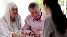 Mature Couple Meeting With Female Financial Advisor At Home