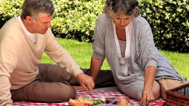 vídeos y material grabado en eventos de stock de mature couple picnicking in the garden / cape town, western cape, south africa - cesta de picnic