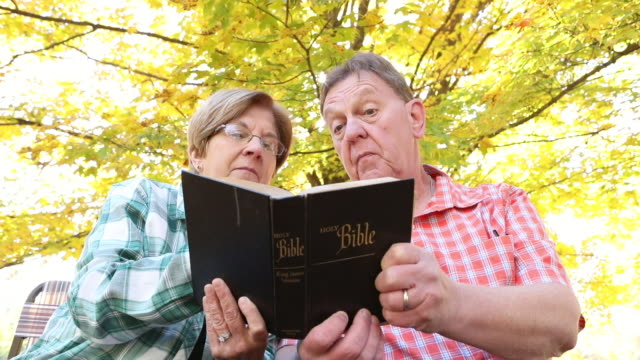 mature couple reading bible together - bible stock videos & royalty-free footage