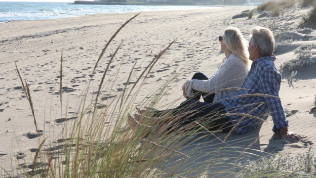 mature couple relax alongside beach grasses at sunrise - sea grass plant stock videos & royalty-free footage