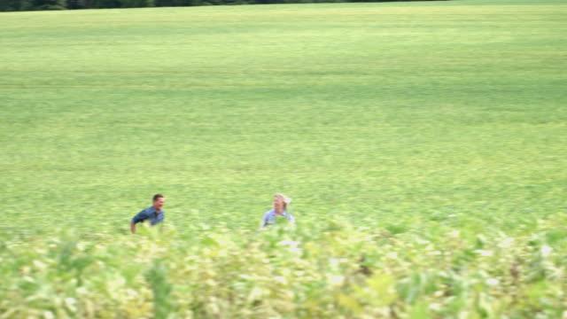 mature couple running in field - ロマンス点の映像素材/bロール