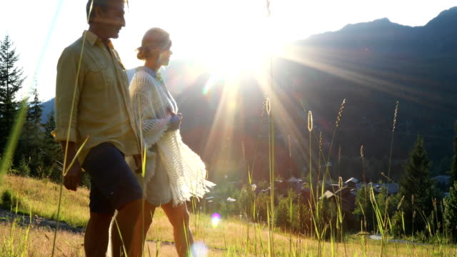 mature couple walk through grasses, look out over mountains - beauty in nature stock videos & royalty-free footage