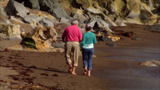 stockvideo's en b-roll-footage met ms, zi, mature couple walking on rocky beach, rear view, moonstone beach, cambria, california, usa - noordelijke grote oceaan