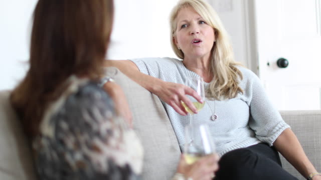 mature female friends having a conversation - 50 59 years stock videos & royalty-free footage