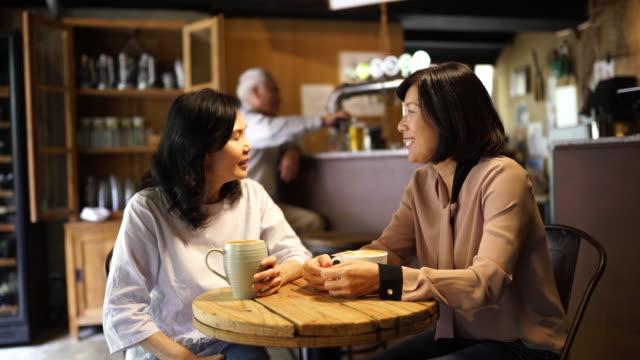 reife freundinnen, die zeit im café verbringen - chinesischer abstammung stock-videos und b-roll-filmmaterial