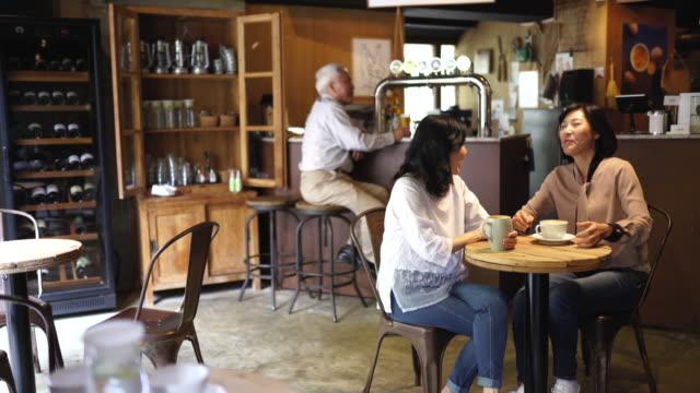 熟女友達はカフェで質の高い時間を過ごします - 談笑する点の映像素材/bロール