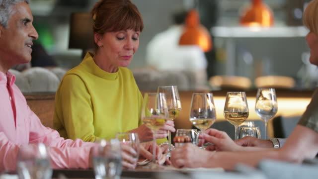 vídeos de stock e filmes b-roll de mature friends enjoying a meal - serviço de prata