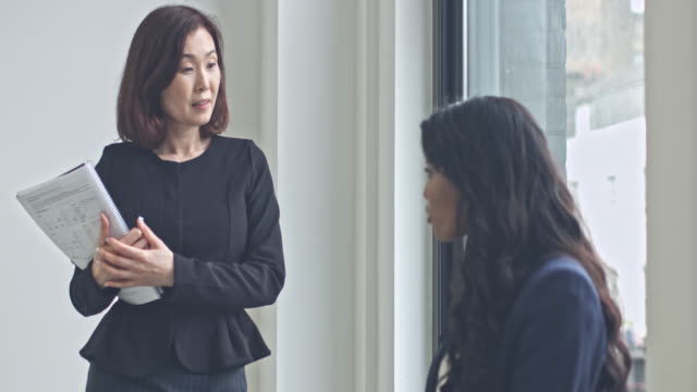 mature japanese businesswoman discussing with her colleague in modern office - leadership stock videos and b-roll footage