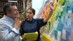 Mature male customer asking for help to friendly saleswoman looking at color swaps