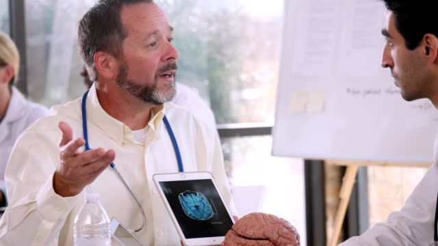 Mature male doctor reviews patient's MRI brain scan with colleague
