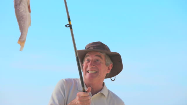 mature man catching a big fish / cape town, western cape, south africa - only mature men stock videos and b-roll footage