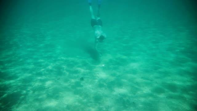 Volwassen man duiken zeeschelp