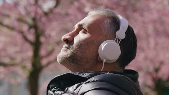 mature man listening to music in the park - headphones stock videos & royalty-free footage