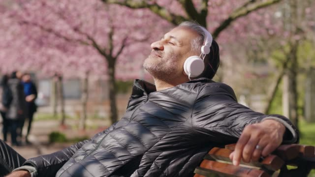 mature man listening to music in the park - cuffia attrezzatura per l'informazione video stock e b–roll