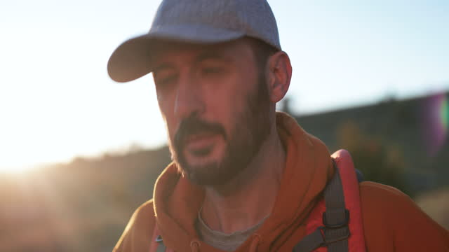 mature man on hiking - video portrait stock videos & royalty-free footage