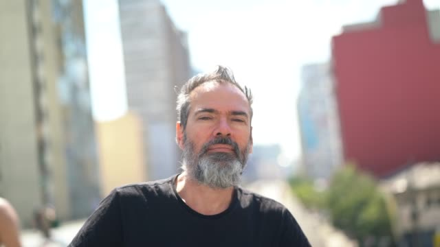 mature man portrait at minhocao, sao paulo, brazil - caucasian ethnicity stock videos & royalty-free footage
