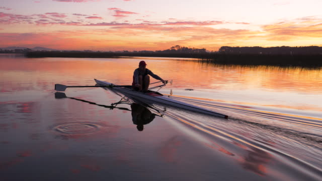 mature man rowing a single scull on a lake at dawn - oar stock videos & royalty-free footage