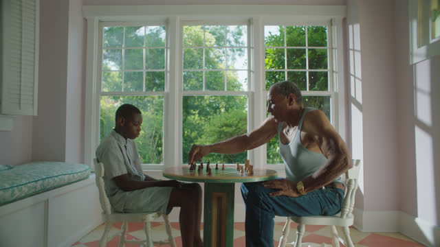 WS of mature man teaching a young boy how to play chess