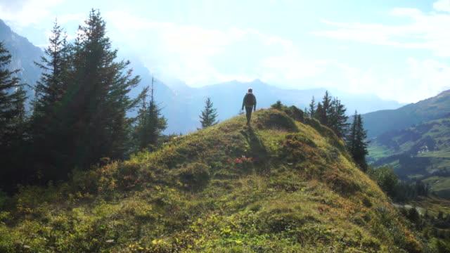 mature man walks along mountain ridge line meadow - solo uomini maturi video stock e b–roll