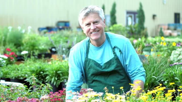 Mature man working in plant nursery