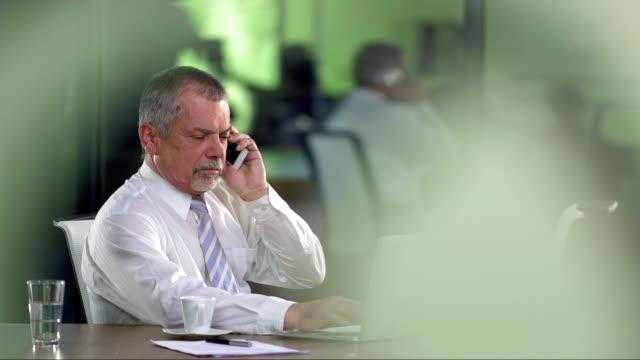 MS ältere Manager spricht auf dem Mobiltelefon