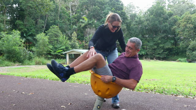 mature maori man and his wife playing in a park - pacific islanders stock videos & royalty-free footage
