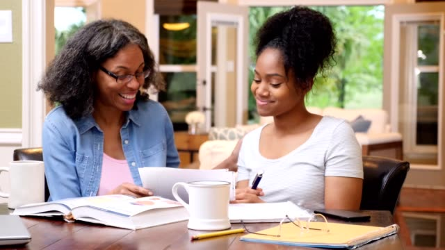 vídeos de stock e filmes b-roll de mature mom proofreads her daughter's paper for a college course - controlo de qualidade