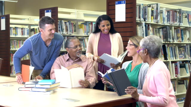 mature students studying in library with instructor - mixed age range stock videos & royalty-free footage