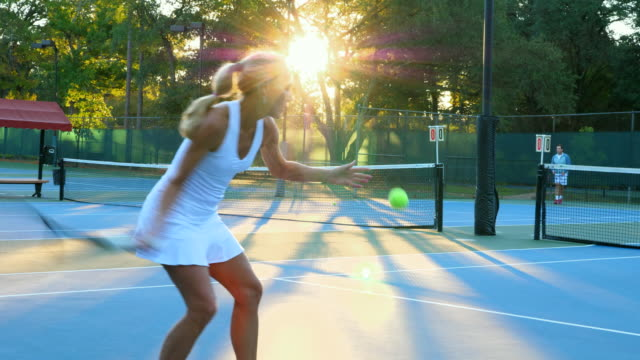 ms mature tennis players playing tennis together - mature men stock videos & royalty-free footage