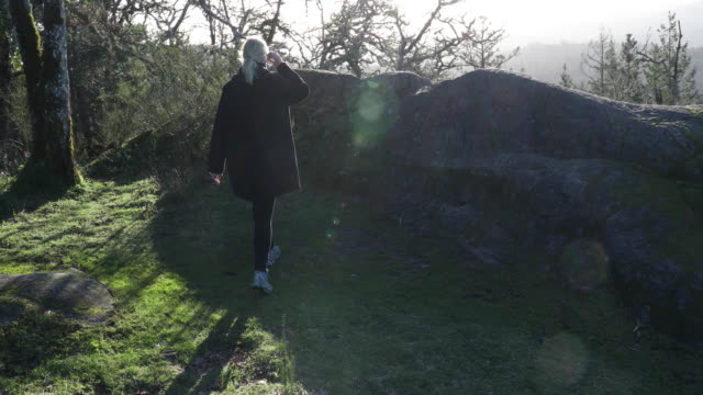 mature woman ascends parkland ridge - one mature woman only stock videos & royalty-free footage