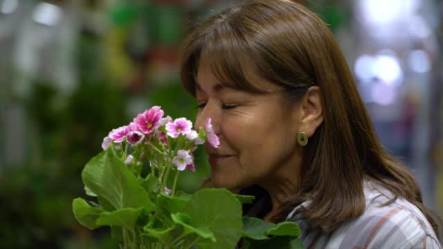 vídeos y material grabado en eventos de stock de mujer madura en una tienda de mejoras para el hogar que huele una hermosa planta de flores - oler