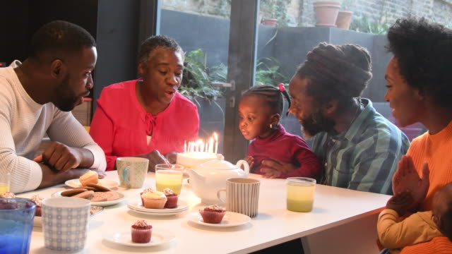 mature woman blowing out candles on a birthday cake with granddaughter and family clapping - baby boys stock videos and b-roll footage