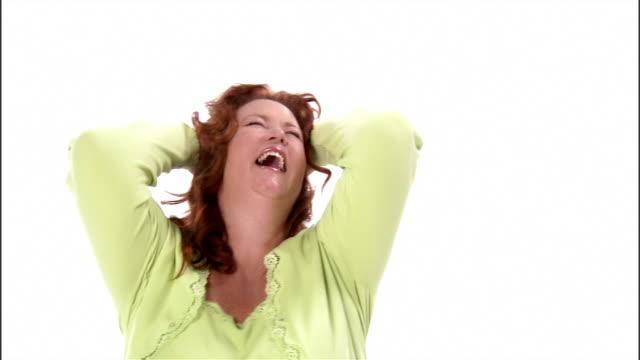 cu, mature woman dancing in studio - older woman fun stock-videos und b-roll-filmmaterial