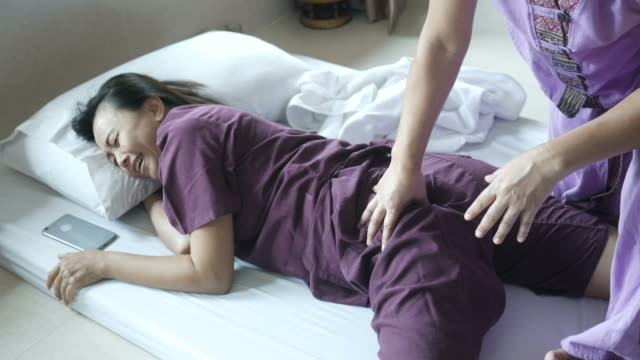 mature woman having relaxing  with thai massage - mental health professional stock videos & royalty-free footage