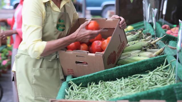 ms tu mature woman holding box of tomatoes at farmer's market / richmond, virginia, usa - mercato di prodotti agricoli video stock e b–roll
